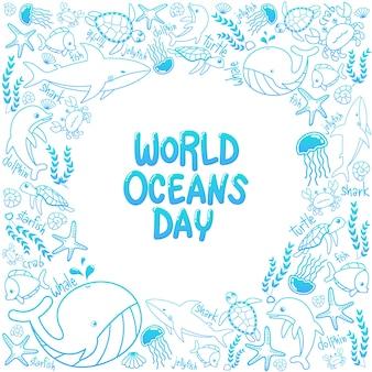Marco marino del día mundial de los océanos