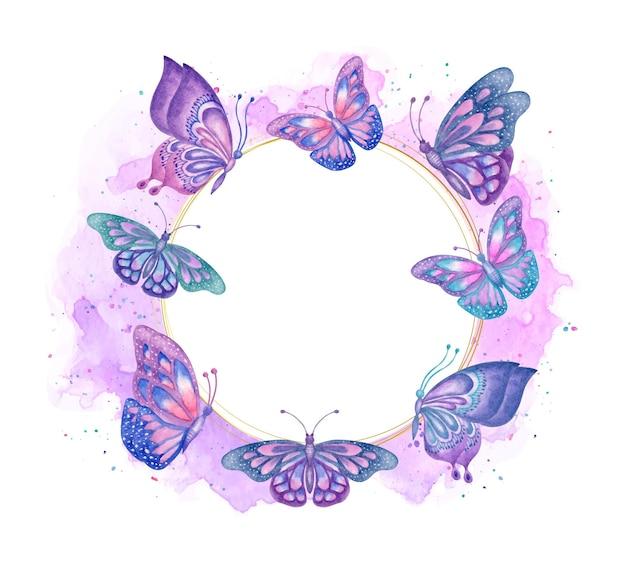 Marco de mariposas de primavera hermosa acuarela