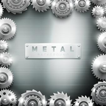 Marco del mecanismo de la rueda dentada del metal moderno decorativo para el fondo interior o la galería de arte