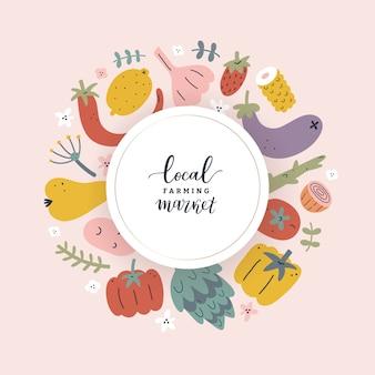 Marco de mercado de agricultores, verduras y frutas