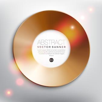 Marco metálico de bronce disco de cobre aislado en el fondo blanco.