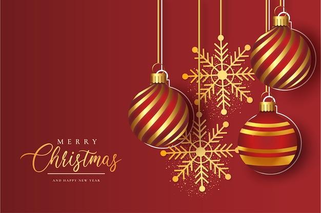 Marco moderno de feliz navidad con bolas de navidad doradas realistas