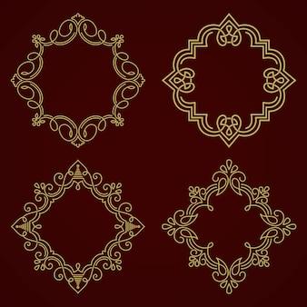 Marco de monograma floral y geométrico sobre fondo gris oscuro