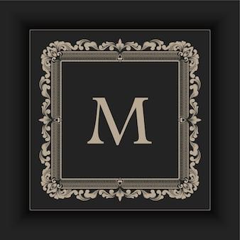 Marco de monograma floral y geométrico
