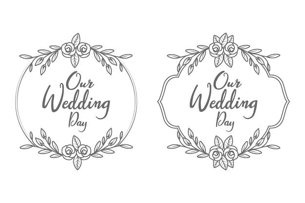 Marco y monograma de insignias de boda decorativas y mínimas dibujadas a mano