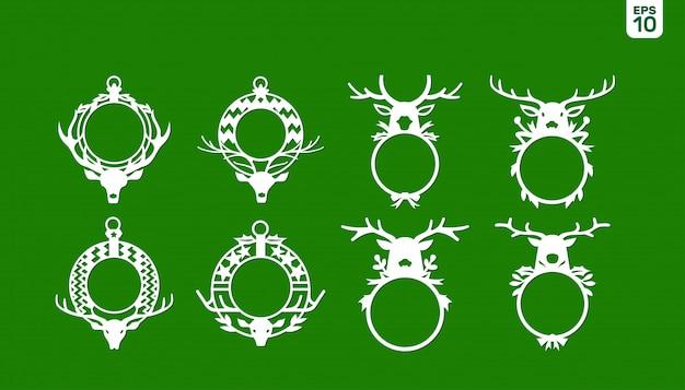 Marco de monograma de navidad de asta de ciervo para vacaciones de navidad