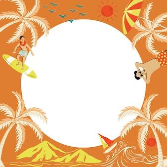 Marco naranja de isla tropical en forma de círculo con ilustración de dibujos animados turísticos