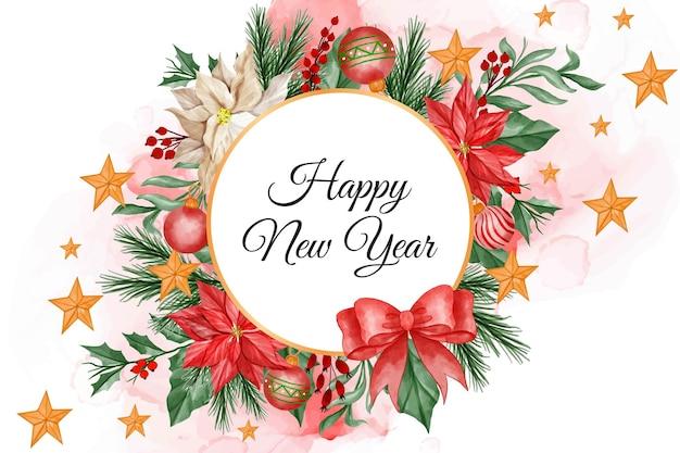 Marco de navidad acuarela fondo redondo con flor de pascua, hojas y bola de luz de navidad