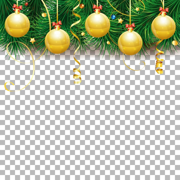 Marco de navidad y año nuevo con adornos, ramas de abeto y serpentina de oro.