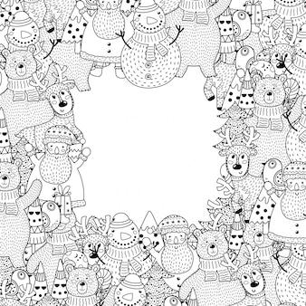 Marco de navidad en blanco y negro en estilo de página para colorear