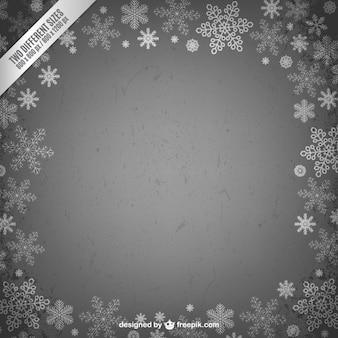 Marco de navidad con copos de nieve