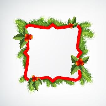 Marco de navidad decorado con hojas de muérdago en blanco
