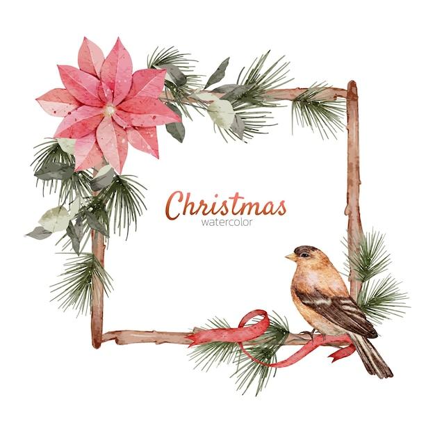 Marco de navidad elemento acuarela pintura a mano