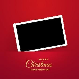 Marco de navidad con foto, marco en blanco.