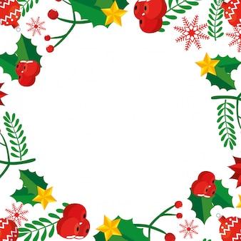 Marco de navidad con hojas y decoración