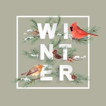 Marco de la navidad del pájaro de la acuarela con el pino en fuente del invierno.