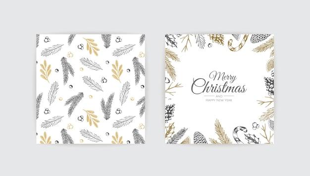 Marco de navidad con plantas de invierno. ilustración botánica.