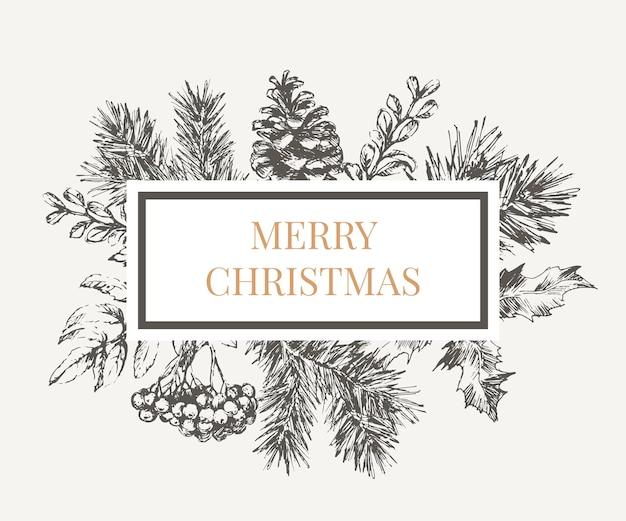 Marco de navidad con ramas de árbol de navidad.