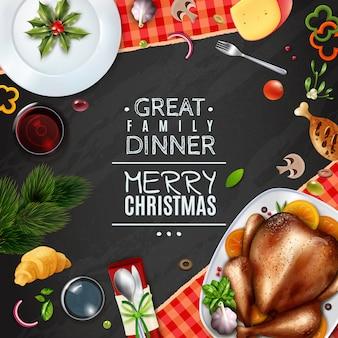 Marco de navidad realista día de acción de gracias de turquía