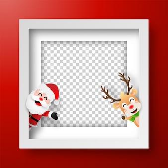 Marco navideño con santa claus y renos.