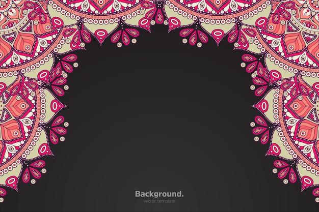 Marco negro con mandala oriental abstracto