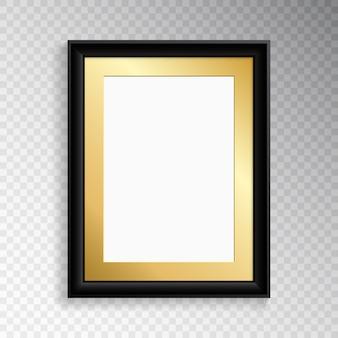 Un marco negro realista para fotografía o pintura.