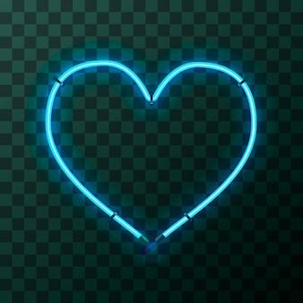 Marco de neón azul brillante en forma de corazón sobre fondo transparente