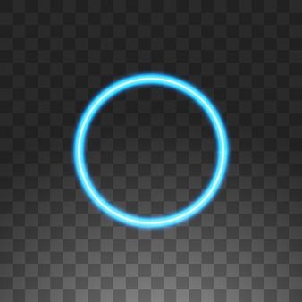 Marco de neón azul círculo abstracto, ilustración, sobre fondo transparente.