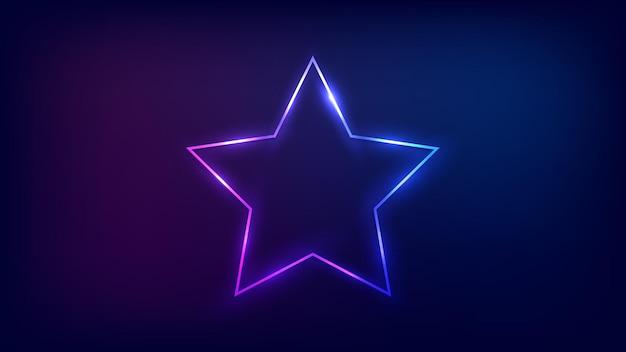 Marco de neón en forma de estrella con efectos brillantes sobre fondo oscuro. telón de fondo de techno que brilla intensamente vacío. ilustración vectorial.