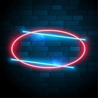 Marco de neón ovalado brillante brillante con efecto de texto