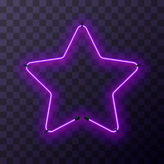 Marco de neón púrpura brillante en forma de estrella sobre fondo transparente