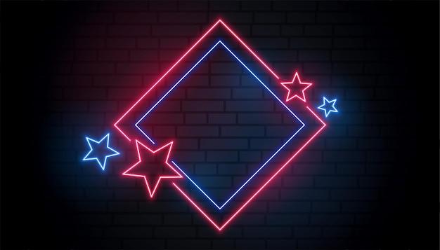 Marco de neón rojo y azul con estrellas