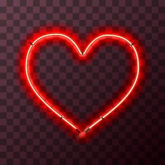 Marco de neón rojo brillante en forma de corazón sobre fondo transparente