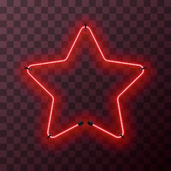 Marco de neón rojo brillante en forma de estrella sobre fondo transparente