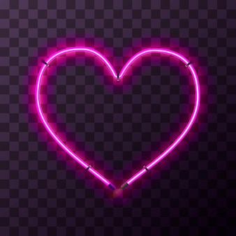 Marco de neón rosa brillante en forma de corazón sobre fondo transparente