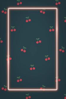 Marco de neón rosa en plantilla social de patrón de cereza