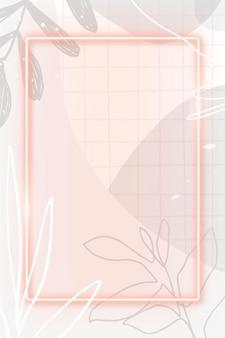Marco de neón rosa sobre fondo estampado de memphis