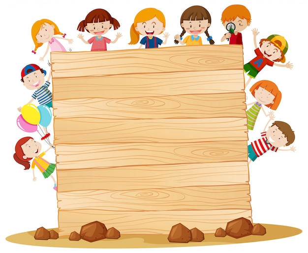 Marco con niños felices alrededor de tablero de madera
