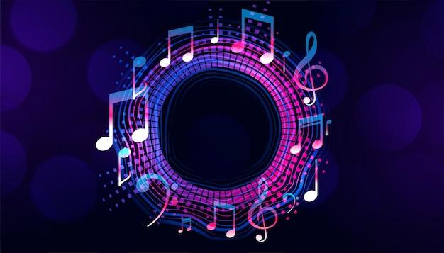 Marco de notas musicales con espacio de texto