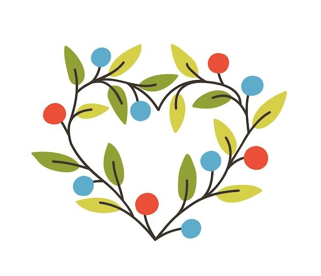 Marco o borde en forma de corazón hecho de ramas con bayas y hojas. elemento de diseño decorativo natural de primavera, linda decoración romántica, símbolo del amor