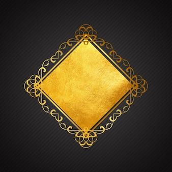 Marco ornamental dorado sobre un fondo negro