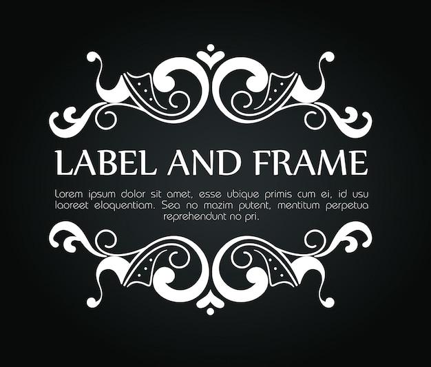 Marco ornamental para etiqueta de lujo con plantilla de texto