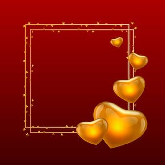 Marco de oro con globos de oro en forma de corazón sobre fondo rojo