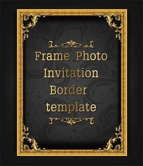 Marco de oro marco foto plantilla vector diseño