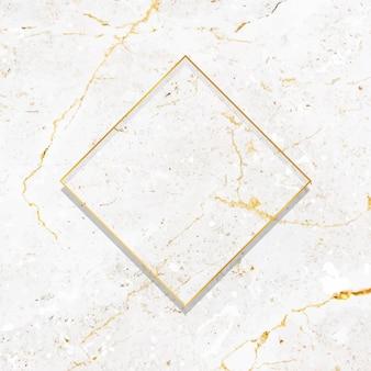 Marco de oro rombo sobre fondo de mármol blanco