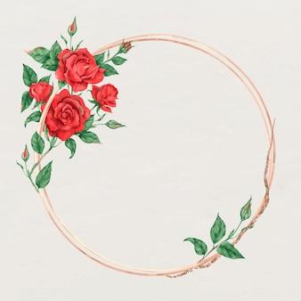 Marco de oro rosa rojo floreciente