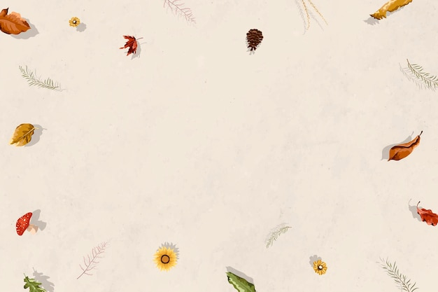 Marco de otoño floral en blanco