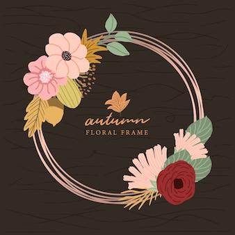 Marco de otoño floral y círculo de oro rosa