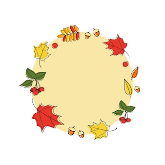 Marco de otoño con hojas y bayas en el estilo de dibujo