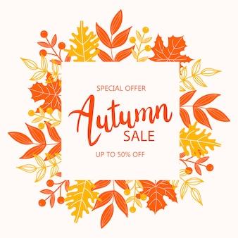 Marco de otoño con hojas. marco redondo colorido con hojas de naranja